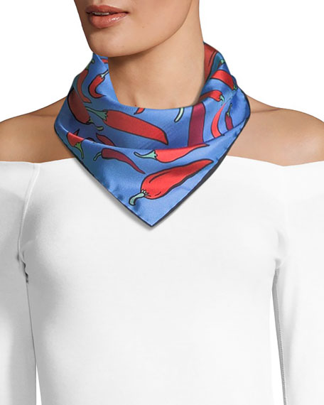 Anna Coroneo Mini Square Silk Twill Chilies Scarf