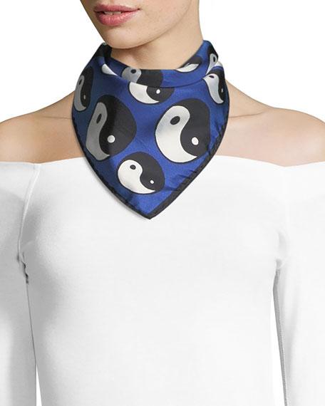 Anna Coroneo Mini Twill Yin Yang Scarf, Blue