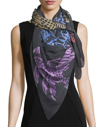 Modal Square Palm Trees Scarf, Multi
