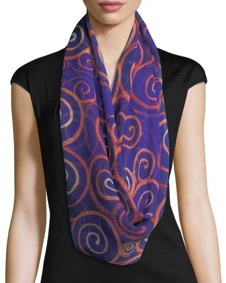 Anna Coroneo Silk Chiffon Square Spiral Swirl Scarf,