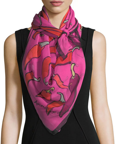 Silk Chiffon Square Chili Peppers Scarf, Pink
