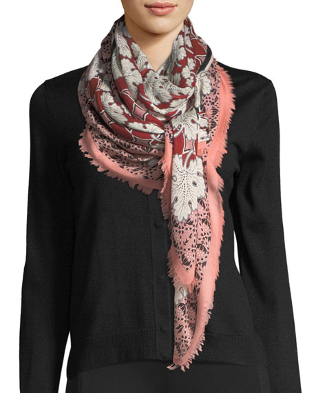 Fendi Silk-Wool Heritage Shawl, Red Pattern