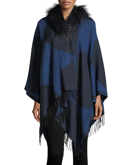 Fendi Colorblock Wool Poncho with Fur Collar