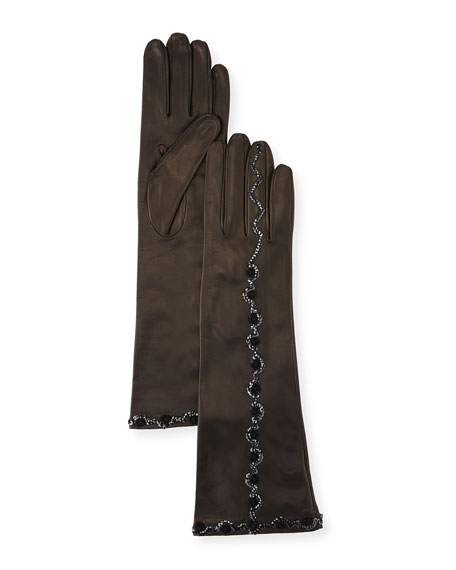 Sequin & Flower Embroidery Napa Leather Gloves