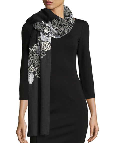 K Janavi Half Circle Chantilly Lace Stole