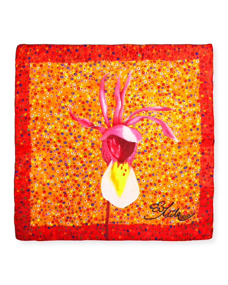 Caly Flower Square Silk Scarf, 100cm