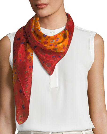 Caly Flower Square Silk Scarf, 100cm