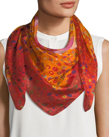 Mila & Such Caly Flower Square Silk Scarf,