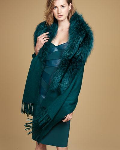 Wool Wrap w/ Fur Trim