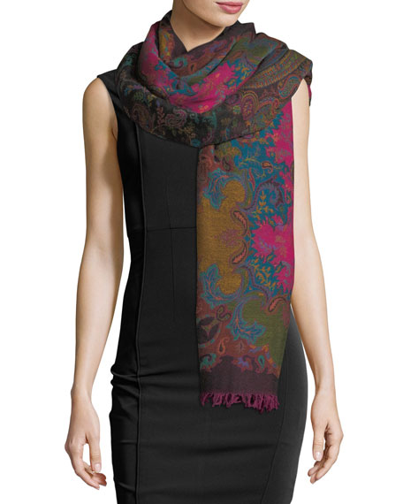 Sabira Maverick in Milan Wool Paisley Shawl, Multi