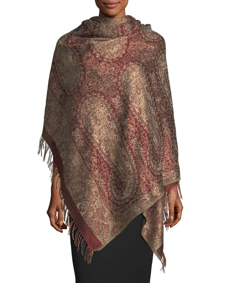 Sabira Antiqued Paisley Wool-Silk Shawl