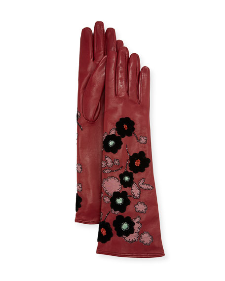 Long Leather Gloves w/ Floral Embroidery
