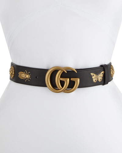 GG Adjustable Leather Belt w/ Animal Studs