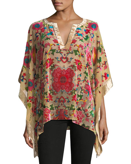Floral-Print Velvet Poncho Top