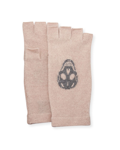 360Sweater Skull Fingerless Cashmere Gloves