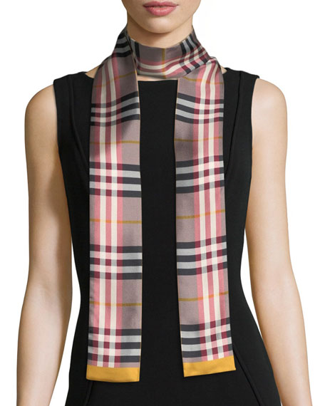 Burberry Castleford Check Silk Skinny Scarf, Rose