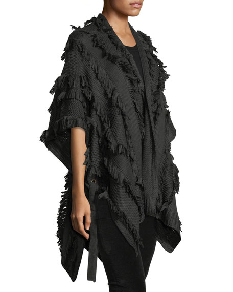 Solid-Color Fringe Ruana