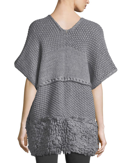 V-Neck Knit Poncho w/ Looped Yarn Trim