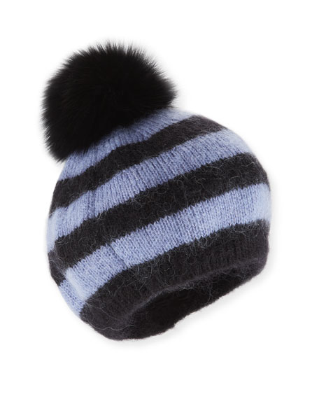Charlotte Simone Striped Bobbi the Beret w/ Fur