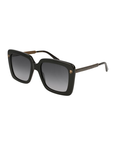 Acetate Square Tiger Sunglasses, Black