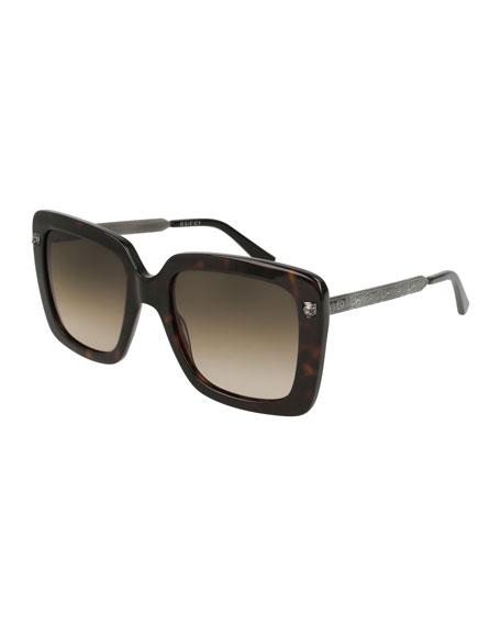 Gucci Acetate Square Tiger Sunglasses, Brown