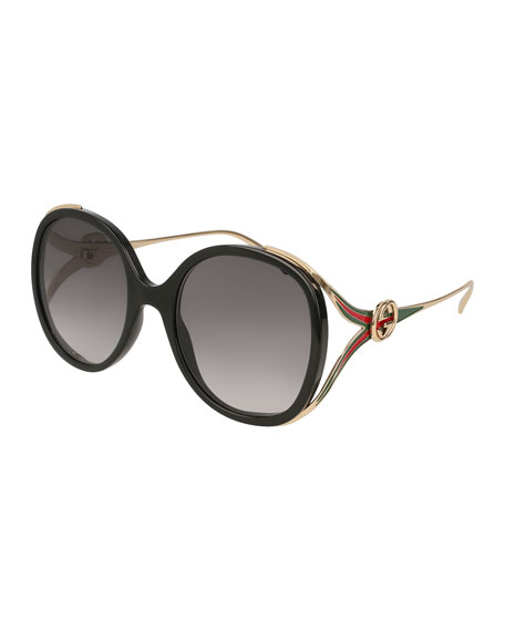 Gucci Oval Web GG Sunglasses, Black Pattern