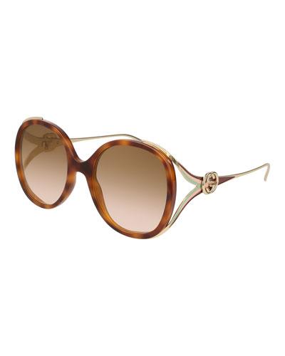 Oval Web GG Sunglasses, Brown Pattern
