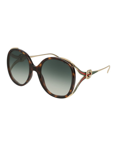Gucci Oval Web GG Sunglasses, Brown