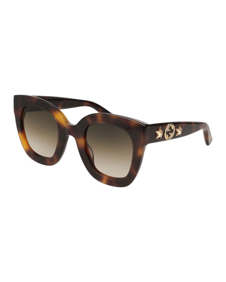 Gucci Rectangle Acetate GG Sunglasses w/ Crystal Stars,