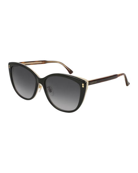 Gucci Acetate Cat-Eye Sunglasses, Black