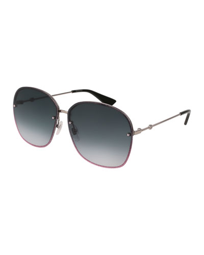 Glittered Metal Square Sunglasses, Gray
