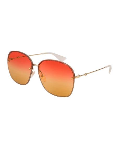 Gucci Glittered Metal Square Sunglasses, Gold