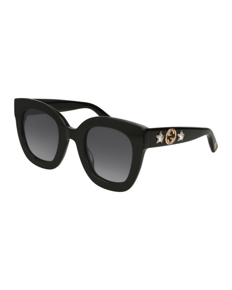 9ff30ff5a88 Gucci Rectangle Acetate GG Sunglasses w  Crystal Stars