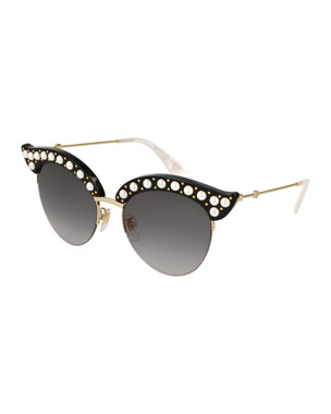bfba07ff3a Gucci Semi-Rimless Cat-Eye Sunglasses w  Pearlescent Bead Trim