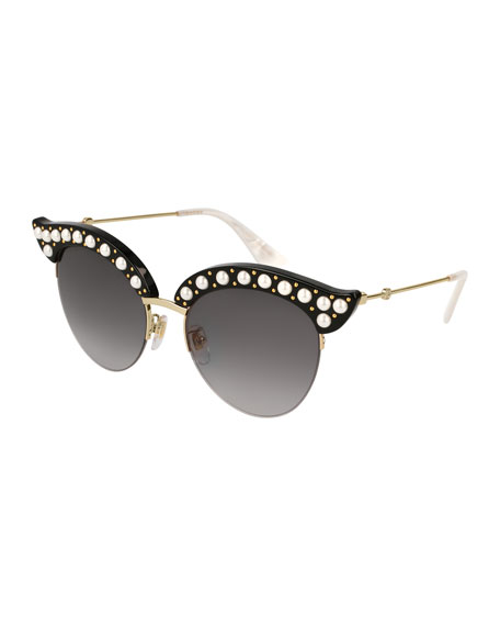Gucci Semi-Rimless Cat-Eye Sunglasses w/ Pearlescent Bead Trim,
