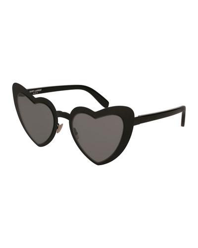 Lou Lou Heart-Shaped Sunglasses, Black