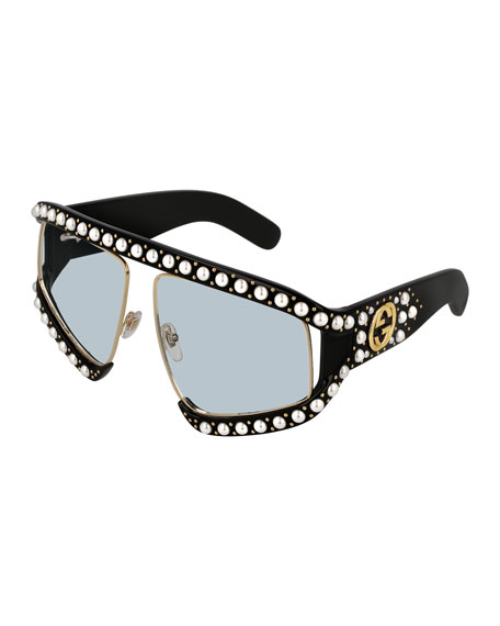 Gucci Rectangle Acetate Sunglasses w/ Pearlescent Trim