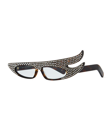Gucci Acetate Angled Optical Frames w/ Crystals | Neiman Marcus
