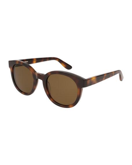 Round Monochromatic Sunglasses, Brown Pattern