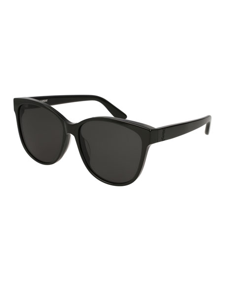 Cat-Eye Monochromatic Sunglasses, Black Pattern