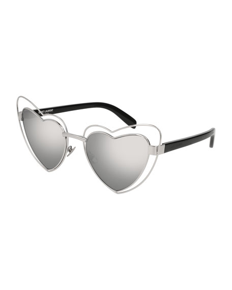 Lou Lou Heart-Shaped Sunglasses, Silver