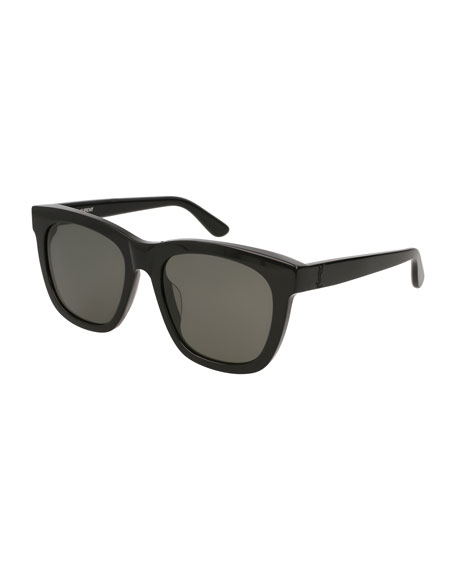 Unisex Square Acetate Sunglasses, Black