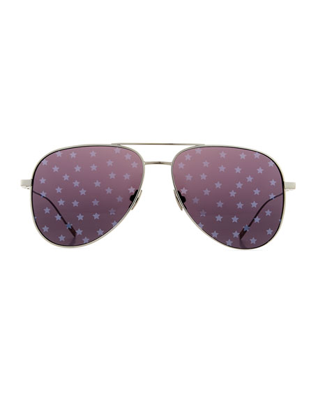 Metal Aviator Star-Lens Sunglasses