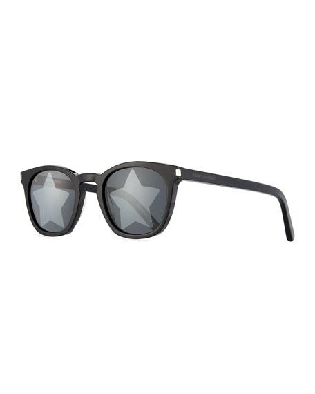 Saint Laurent Square Acetate Star-Lens Sunglasses