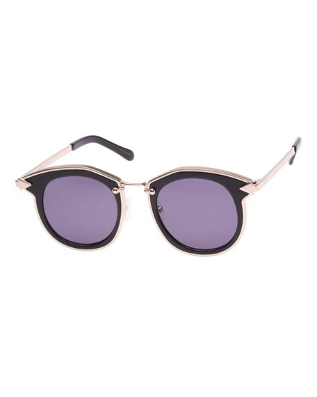 Karen Walker Bounty Two-Tone Round Sunglasses, Black
