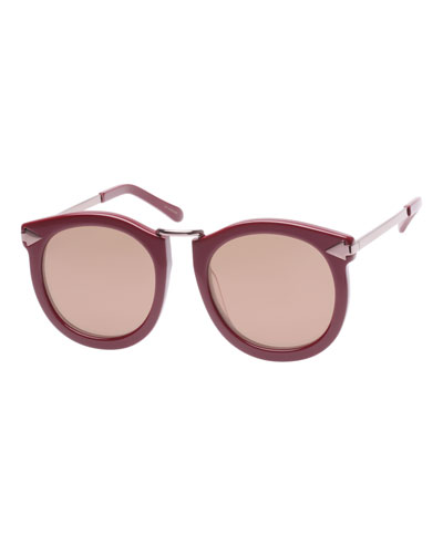 Super Lunar Round Mirrored Sunglasses, Red Pattern