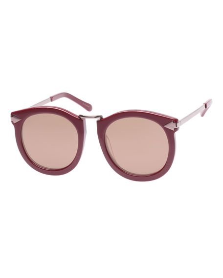 Karen Walker SUPER LUNAR ROUND MIRRORED SUNGLASSES, RED PATTERN