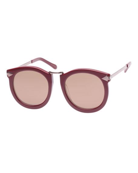 Karen Walker Super Lunar Round Mirrored Sunglasses, Red