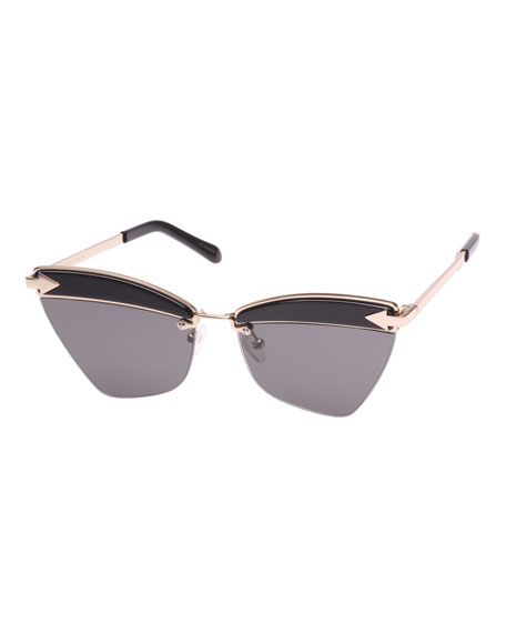 Karen Walker Sadie Cat-Eye Geo Sunglasses