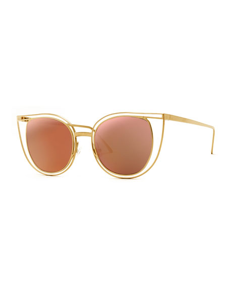 THIERRY LASRY Eventually Metal Cat-Eye Sunglasses, Pink